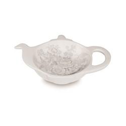 Dove Grey Asiatic Pheasants Teapot tray, H2.5 x W13.5 x D10cm, grey/white