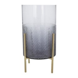 Cut Glass Large hurricane lamp on stand, grey