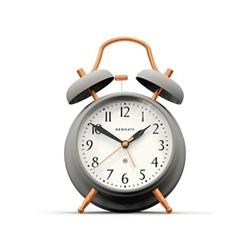 Brick Lane Alarm clock, H17 x W11.7 x D5.5cm, matt grey and copper