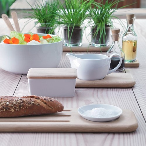 Dine Sauce boat with oak stand, 450ml, white