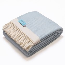 Herringbone Blanket, 130 x 250cm, light blue/cream wool