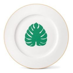 Tropical Leaf Dinner plate, Dia26cm, gold rim