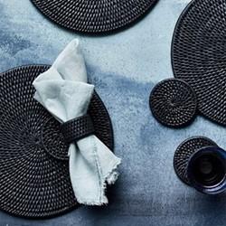 Ashcroft Set of 6 placemats, Dia29cm, charcoal rattan