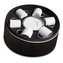 Corde Set of 6 espresso cups and saucers, platinum