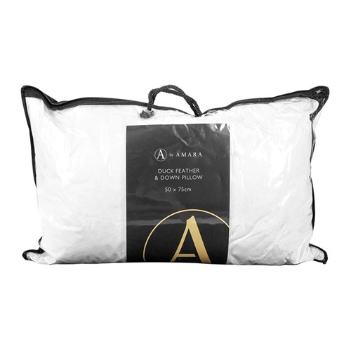 Duck feather and down pillow, W74 x L48cm