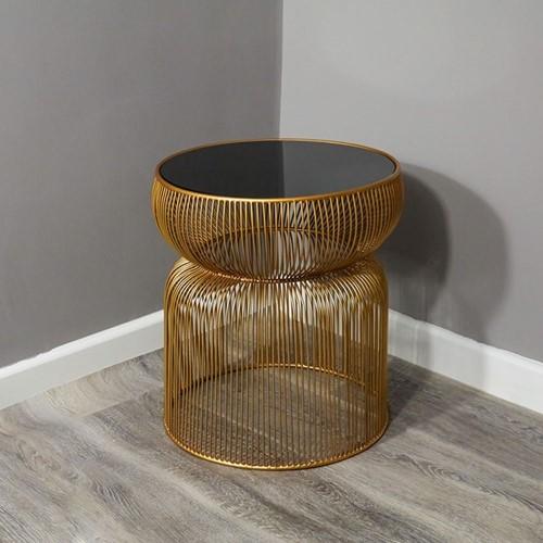 Curve Side table, W42 x D46 x L42cm, Copper & Black