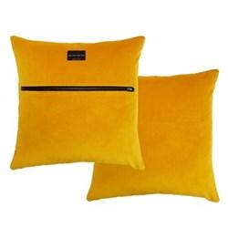 Zip velvet cushion, L50 x W50cm, ochre