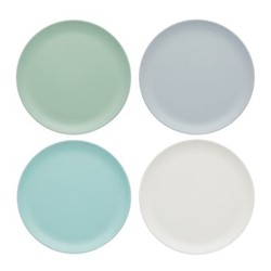 Set of 4 side melamine plates, Dia23cm, vintage green