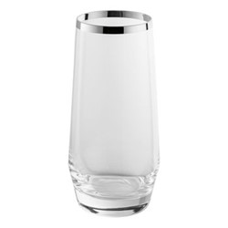Avantgarde Longdrink glass, H16.5cm, crystal and sterling silver