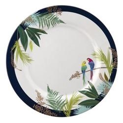 Parrot Set of 4 melamine dinner plates, 28cm, navy
