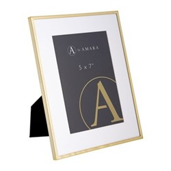"""Photograph frame, 5 x 7"""", gold plated"""
