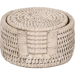 Ashcroft Set of 6 round coasters, D12cm, rattan