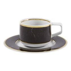 Carrara Coffee cup and saucer, D13 x H5cm, black/white