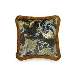 Limerence Medium fringed velvet cushion, 45 x 45cm, sky