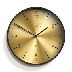 Mr Clarke Wall clock, Dia40cm, brass & dark plywood