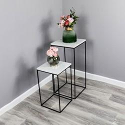 Marble Set of 2 side tables, W42 x D50 x L42cm, White