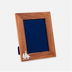 """The Highland Safari Collection - Grouse Portrait photo frame, 8 x 6"""", Rhodesian teak and silver plated brass"""