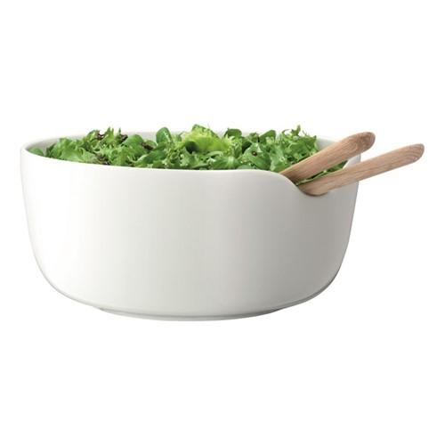Dine Bowl and oak servers, 24cm, white/oak