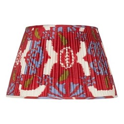 Ikat Silk lampshade, H15 x Dia20cm, Red/Blue