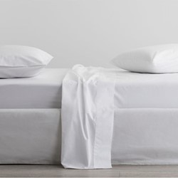 300 Organic Percale Double fitted sheet, 137 x 190 x 38cm, snow