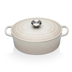 Signature Cast Iron Oval casserole, 27cm - 4 litre, meringue