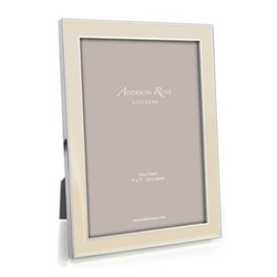 "Enamel Range Photograph frame, 4 x 6"" with 15mm border, vanilla with silver plate"