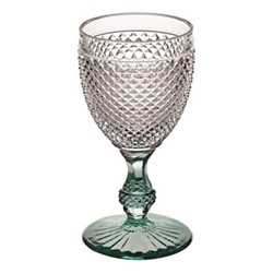 Bicos Bicolor Goblet, H17cm - 28cl, clear with green stem