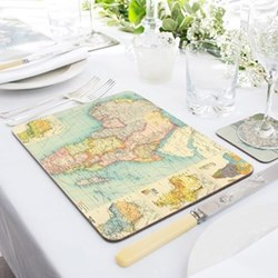Set of 4 personalised map placemats, 30 x 21cm
