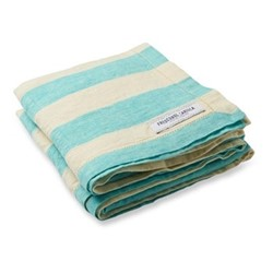 Stripe Linen beach towel, turquoise and off white