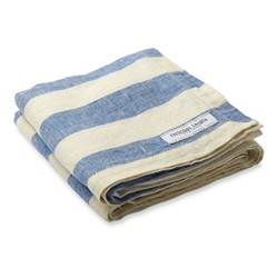 Stripe Linen beach towel, blue and white