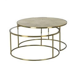 Ringo Pair of coffee tables, H46 x Dia92cm, brass and faux shagreen