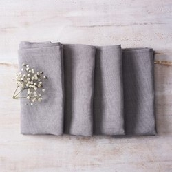 Alma Set of 4 linen napkins, 42 x 42cm, light grey