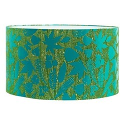 Falling Leaves Extra large drum lampshade, W45 x H25cm, moss/jade ombre