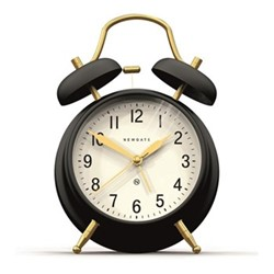 Brick Lane Alarm clock, H17 x W11.7 x D5.5cm, matt black and brass