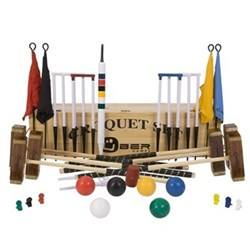Pro 6 player pro croquet set, wooden box