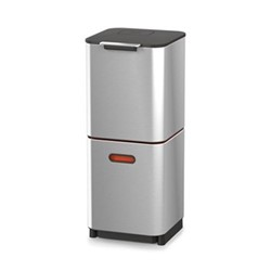 Waste separation and recycling bin, H76 x W30 x D36.5cm, stainless steel