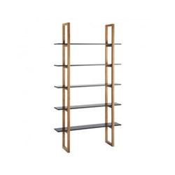 Loki 5 shelf oak bookcase, W110 x H200 x D28cm, black