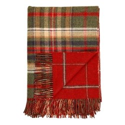 Checked Lambswool throw, 190 x 140cm, green/red