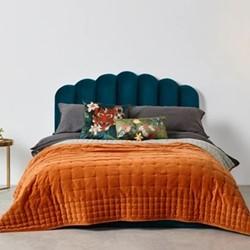 Syrah Velvet king size bedspread, H225 x W220cm, burnt orange