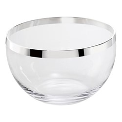 Elegant Bowl, H14.5 x Dia23cm, crystal and sterling silver