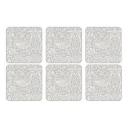 Pure Morris - Strawberry Thief Set of 6 square coasters, 10.5cm, grey/white