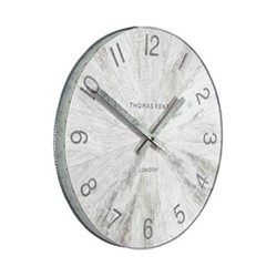 Wharf Pickled Oak Small wall clock, 38cm, grey with metal rim