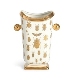 Botanist Specimen vase, W20.32 x D12.1 x H26.67cm, white/metallic gold
