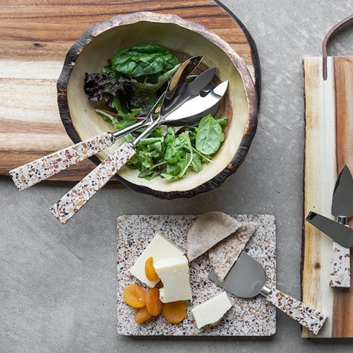 Cheese platter with knife, 20 x 15cm, terrazzo