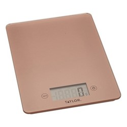 Glass digital scale, L23 x W17cm, rose gold