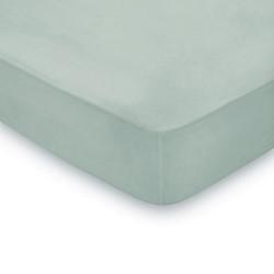300TC Plain Dye Double fitted sheet, L190 x W135 x H36cm, seaglass