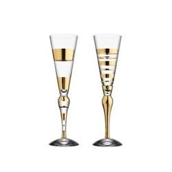 Clown Pair of champagne glasses, H27cm, clear/gold