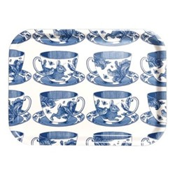 Teacup Small tray, 27 x 20cm, birch veneer/delft blue