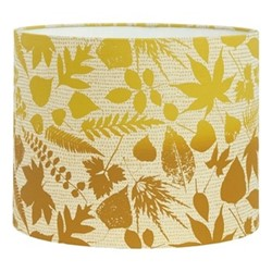 Falling Leaves Drum lampshade, W31 x H24cm, natural/turmeric ombre