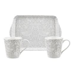 Pure Morris Mug and tray set, grey/white